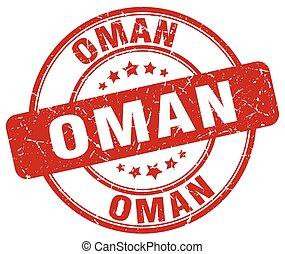 Oman red grunge round vintage rubber stamp