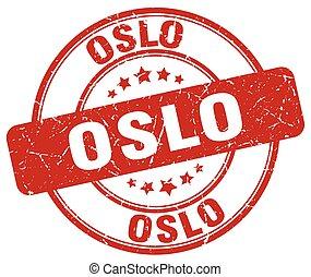 Oslo red grunge round vintage rubber stamp