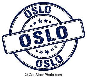 Oslo blue grunge round vintage rubber stamp