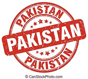 Pakistan red grunge round vintage rubber stamp