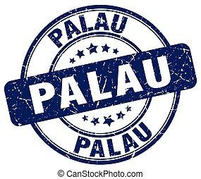 Palau blue grunge round vintage rubber stamp