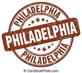 Philadelphia brown grunge round vintage rubber stamp