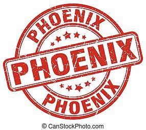 Phoenix red grunge round vintage rubber stamp