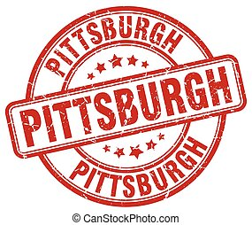 Pittsburgh red grunge round vintage rubber stamp