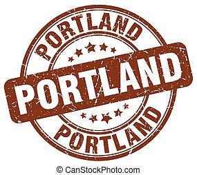 Portland brown grunge round vintage rubber stamp