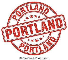 Portland red grunge round vintage rubber stamp