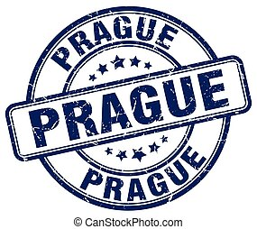 Prague blue grunge round vintage rubber stamp