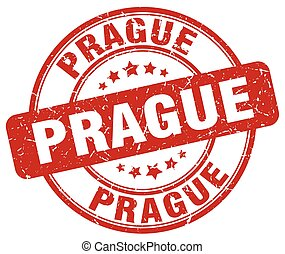 Prague red grunge round vintage rubber stamp