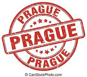 Prague red grunge round vintage rubber stamp