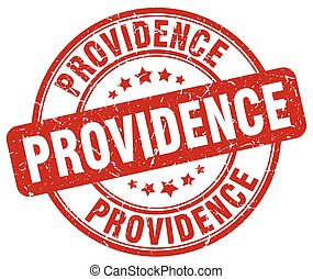 Providence red grunge round vintage rubber stamp