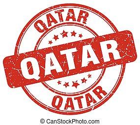 Qatar red grunge round vintage rubber stamp