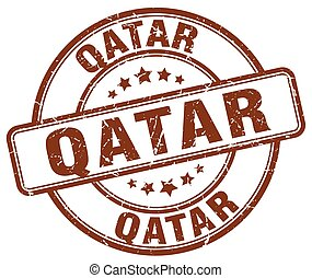 Qatar brown grunge round vintage rubber stamp