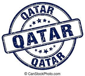 Qatar blue grunge round vintage rubber stamp