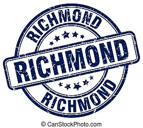 Richmond blue grunge round vintage rubber stamp