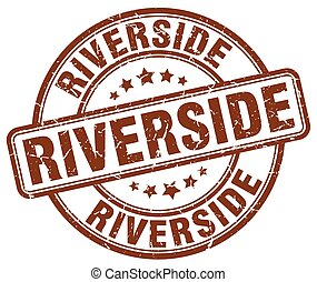 Riverside brown grunge round vintage rubber stamp