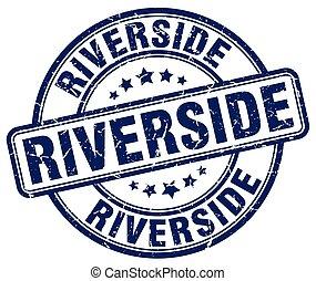 Riverside blue grunge round vintage rubber stamp