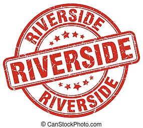 Riverside red grunge round vintage rubber stamp