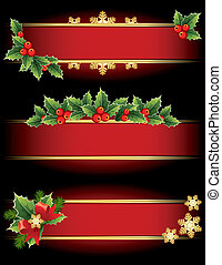 Christmas banners - Vector illustration - red Christmas...