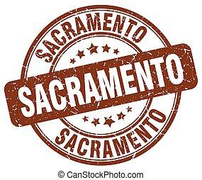 Sacramento brown grunge round vintage rubber stamp