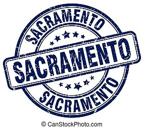 Sacramento blue grunge round vintage rubber stamp