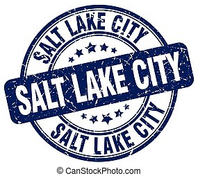 Salt Lake City blue grunge round vintage rubber stamp