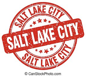 Salt Lake City red grunge round vintage rubber stamp