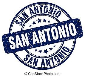 San Antonio blue grunge round vintage rubber stamp