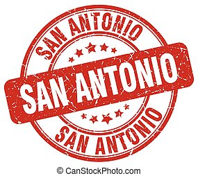 San Antonio red grunge round vintage rubber stamp