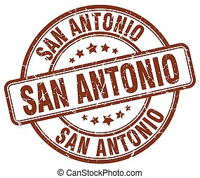 San Antonio brown grunge round vintage rubber stamp