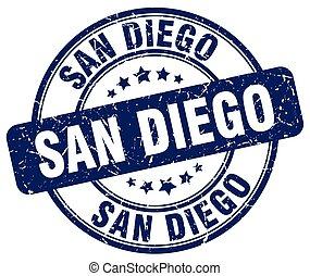 San Diego blue grunge round vintage rubber stamp