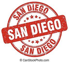 San Diego red grunge round vintage rubber stamp