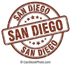 San Diego brown grunge round vintage rubber stamp