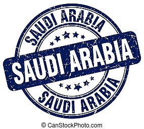 Saudi Arabia blue grunge round vintage rubber stamp