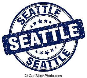 Seattle blue grunge round vintage rubber stamp