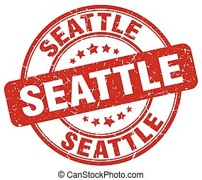Seattle red grunge round vintage rubber stamp