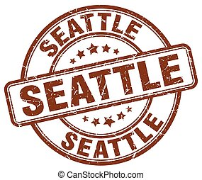 Seattle brown grunge round vintage rubber stamp