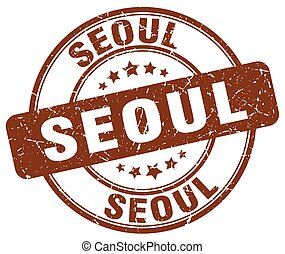 Seoul brown grunge round vintage rubber stamp