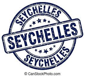 Seychelles blue grunge round vintage rubber stamp