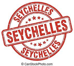 Seychelles red grunge round vintage rubber stamp