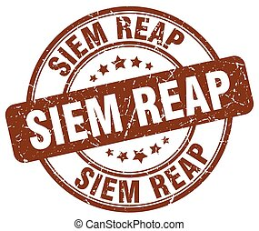 Siem Reap brown grunge round vintage rubber stamp