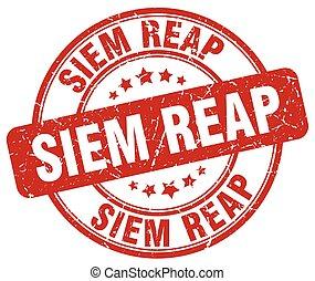 Siem Reap red grunge round vintage rubber stamp