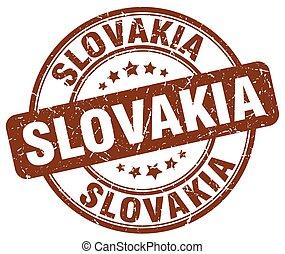 Slovakia brown grunge round vintage rubber stamp