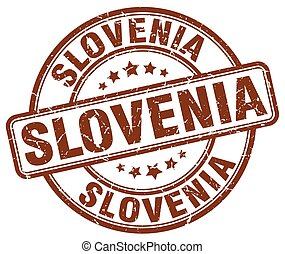 Slovenia brown grunge round vintage rubber stamp
