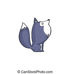 Gray Wolf Cartoon Character - Vector Illustration of Gray...