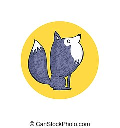 Cute Gray Wolf and Full Moon - Vector Illustration of Gray...