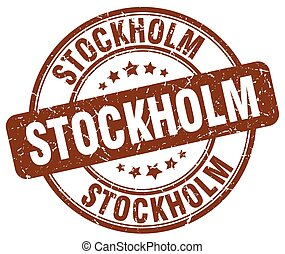 Stockholm brown grunge round vintage rubber stamp