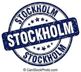 Stockholm blue grunge round vintage rubber stamp