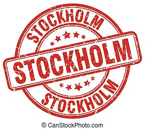 Stockholm red grunge round vintage rubber stamp