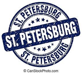 St Petersburg blue grunge round vintage rubber stamp