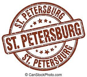St. Petersburg brown grunge round vintage rubber stamp